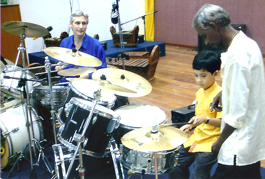 Drums duet with a young malay student!